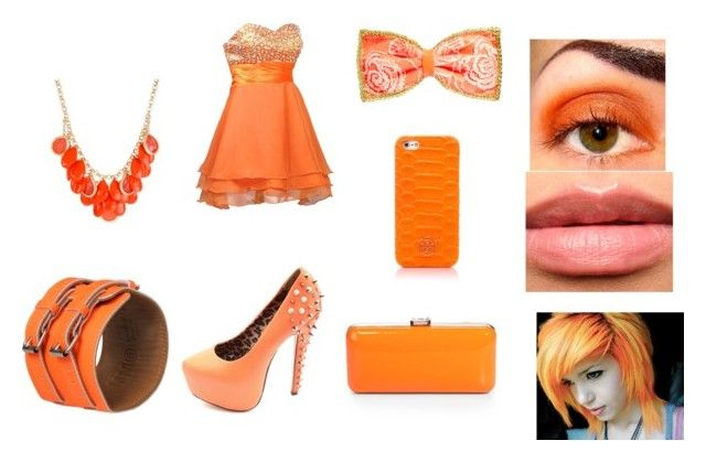 """""""Orange c:"""" by lilyeckles ❤ liked on Polyvore featuring FairOnly, Charlotte Russe, Johnny Loves Rosie, Haskell, MM6 Maison Margiela, Tory Burch and Saks Fifth Avenue"""