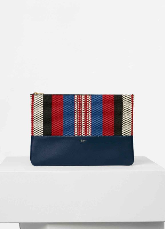 CELINE SOLO CLUTCH POUCH IN NAVY BLUE STRIPED CANVAS AND SMOOTH ...
