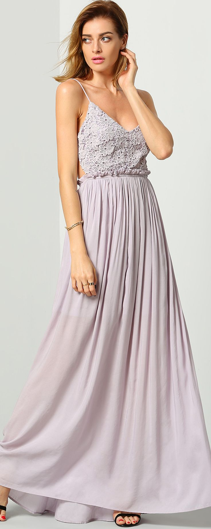 Purple Spaghetti Strap Backless Maxi Dress
