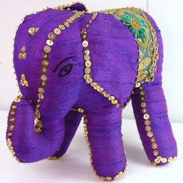 Sambhali Silk Elephant (Purple) was created by graduates of Sambhali Trust Women Empowerment Centre, Each elephant is unique in size, shape & colour and make a beautiful and thoughtful present for anyone, including yourself, while helping Women in India making a better life for themselves and their families... silversari.com - #silversari