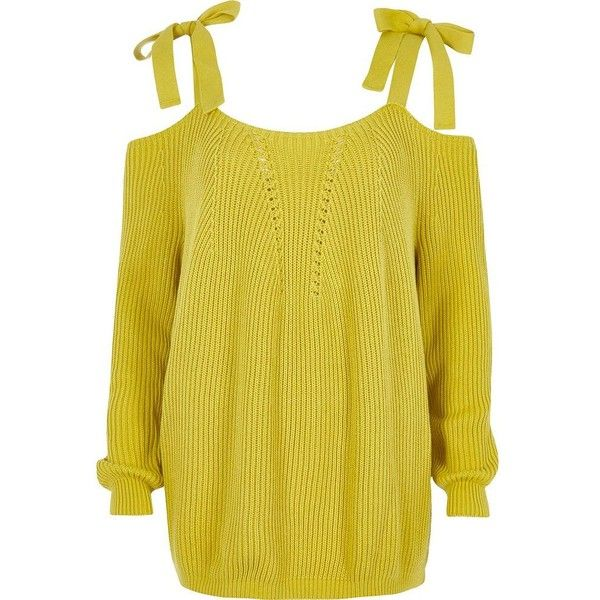 River Island Yellow tie shoulder knit jumper ($45) via Polyvore featuring tops, sweaters, knitwear, yellow, long sleeve sweater, knit sweater, yellow sweater, knit jumper sweater and tie sweater