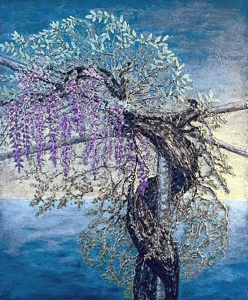 """""""The old wisteria"""" c/a, palett-knife, picture by Marina RAYKOVA"""