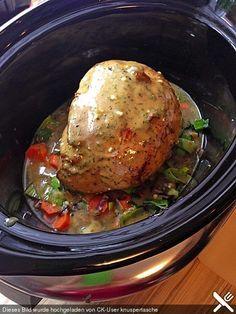 Schweineschinkenbraten aus dem Crockpot, Slowcooker, ein schmackhaftes Rezept aus der Kategorie Schmoren.