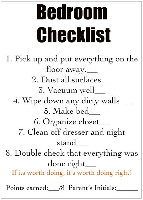 Chores Cleaning Checklist For Each Room For Kids For