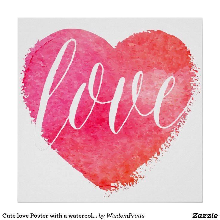Cute love Poster with a watercolor heart