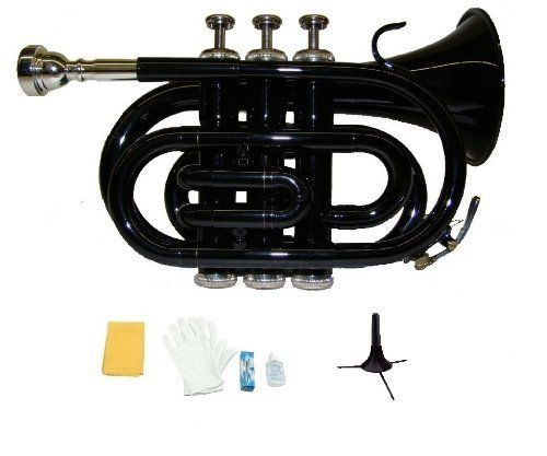 Merano B Flat Black Pocket Trumpet with Case Mouth Piece