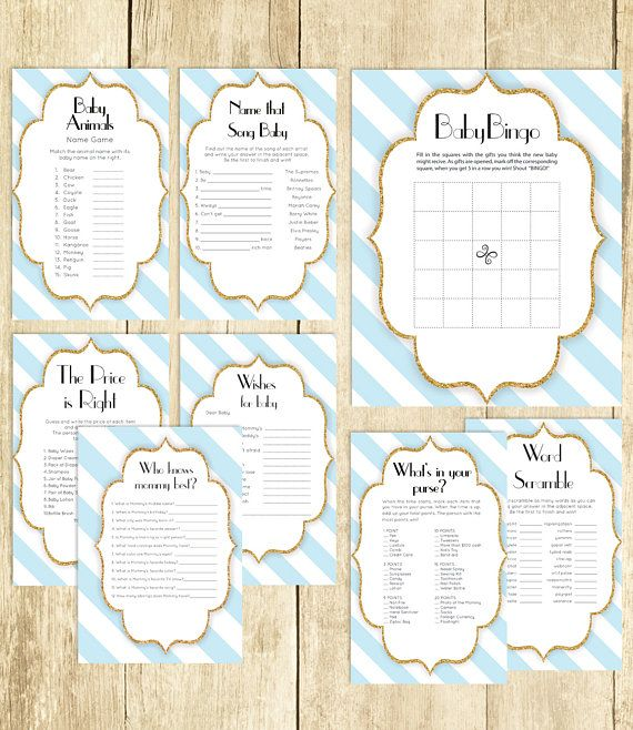 Baby Shower Games Package in Blue and White Eight Printable Games: Bingo Price is Right Purse Game Baby Animals and More 0061A-BWG by TppCardS #tppcards #printable #invitations