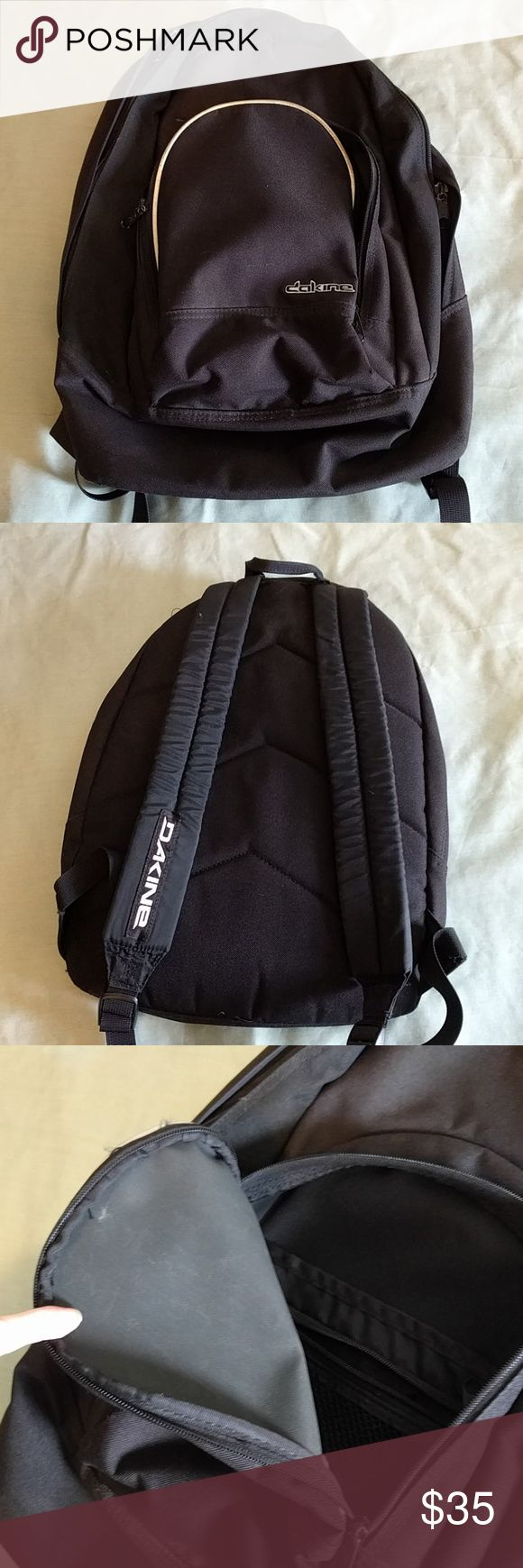 Dakine Little Black Backpack 12x17 backpack. GUC, but the zippers are corroded stuck from being on the water a lot. Plenty of life left of you can fix it! The smaller pocket zippers are fine. Silver reflective piping in the front. Dakine Bags Backpacks
