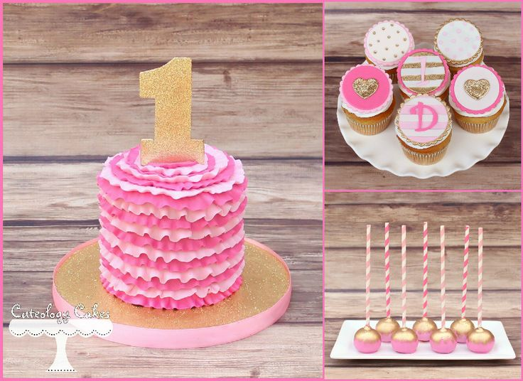 Pink and Gold themed desserts for a first birthday. Ruffle smash cake, cupcakes, and cake pops. www.facebook.com/i.love.cuteology.cakes