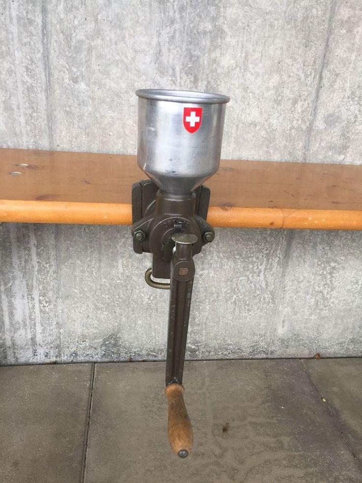 Vintage Swiss Army Surplus Coffee Grinder Hand Cranked Mill
