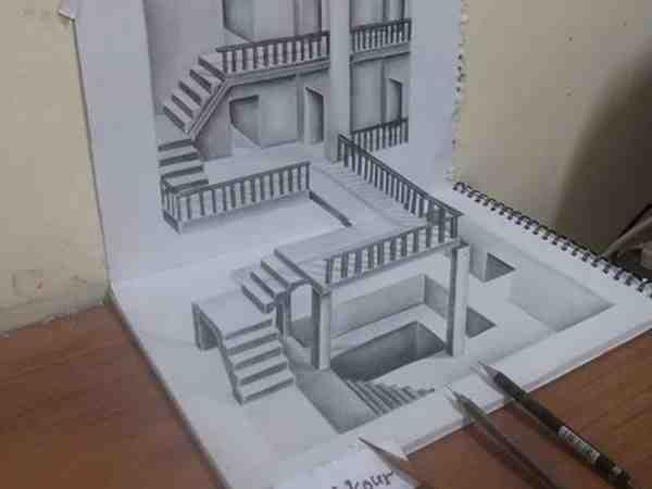 رسومات ثلاثية الأبعاد 3d باقلام الرصاص Pencil Sketch متقنة جدا فن صورة ٢٤ Architecture Sketch Architecture