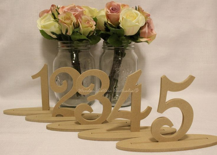 Freestanding Wooden Table Numbers Set 1-10 by Ozwoodletters on Etsy