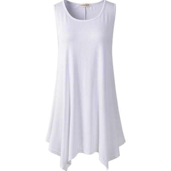 Lanmo Women Plus Size Solid Basic Flowy Tank Tops Summer Sleeveless... ($9.99) ❤ liked on Polyvore featuring tops, womens plus tops, plus size summer tops, cami top, camisole tops and sleeveless tops