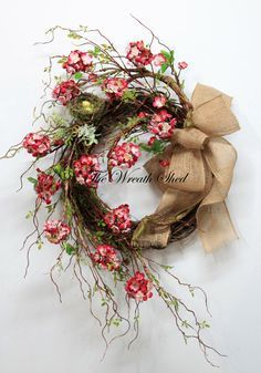 Unique Cherry Blossoms, Country Spring Wreath, Summer Wreath, Front Door  Wreath, Country