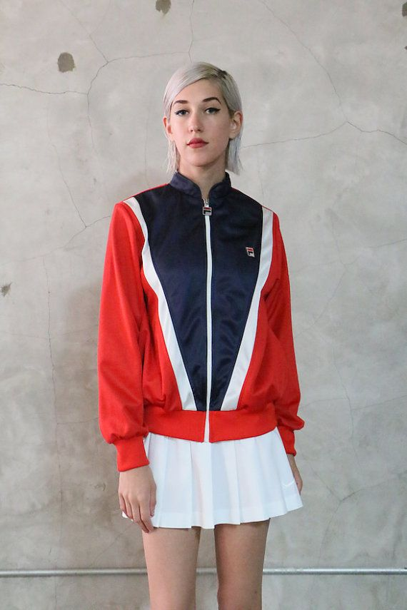 Fila Jacket 80s vintage red white navy blue zip by youngandukraine