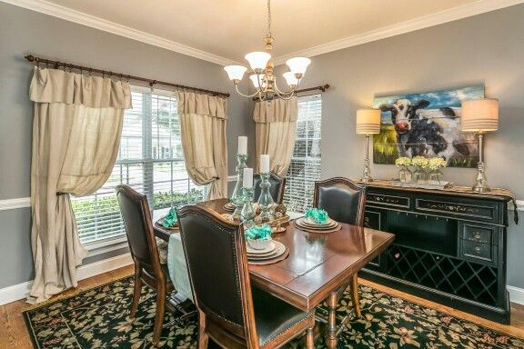 Farmhouse Dining Room Made Curtains From 9x6 Dropcloths