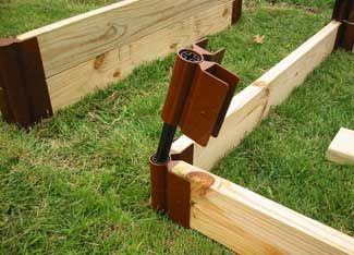 """Fancy corners are nice, but plain old metal angle brackets from the hardware store are a heck of a lot cheaper. You can get a pair of heavy-gauge 1"""" 90-degree brackets for under $5.00Gardens Beds, Buy Online, Angled Brackets, Beds Stakes, 90 Degree Brackets, Plants Gardens, Fancy Corner, Gardens Growing, Backyards Gardens"""