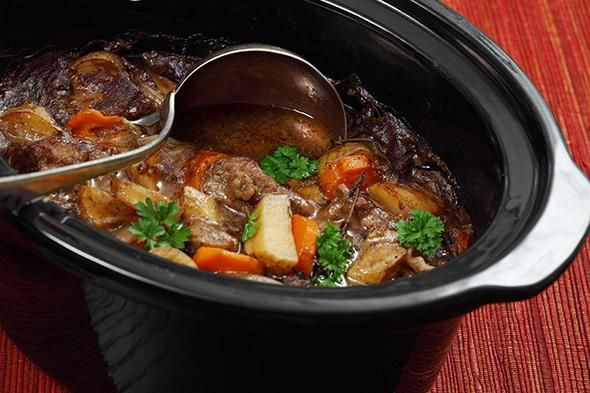 Slow cooker stew recipe. Beef stew – combine a cheap cut of beef with chopped onions, carrots, swede, pumpkin, barley, a few splashes of Worcestershire sauce and some vegetable stock (enough to cover all the ingredients). Cook overnight and you'll have the tastiest family beef stew ever the next day.