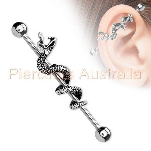 14G Titanium Plated Industrial Barbell Ear Ring Body Piercing Jewellery