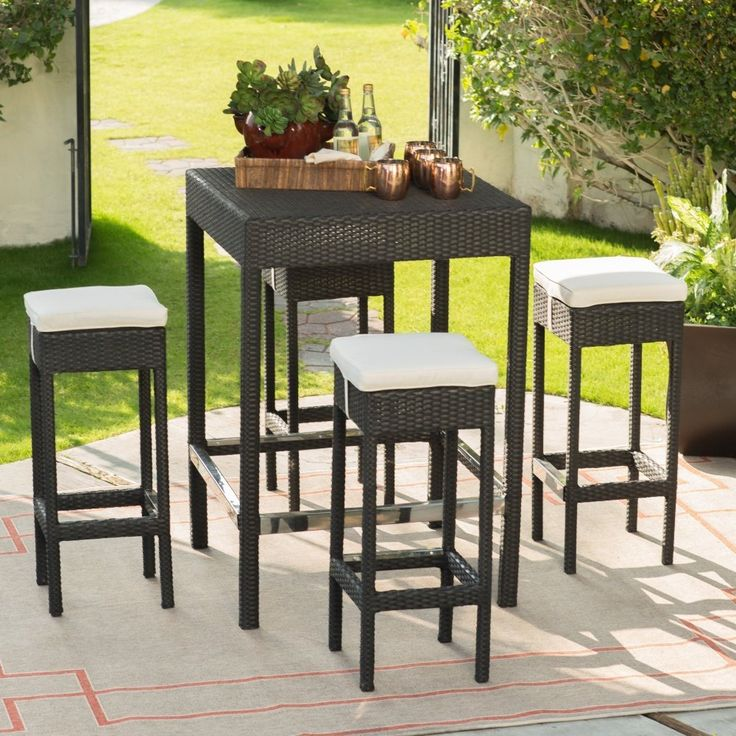 Raise a seat, raise a glass, and raise a great outdoor gathering with friends and family around this bar height patio set.