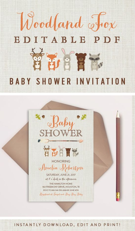 Editable Tribal Arrow Woodland Fox Friends Baby Shower Invitation PDF Printable Instant Download