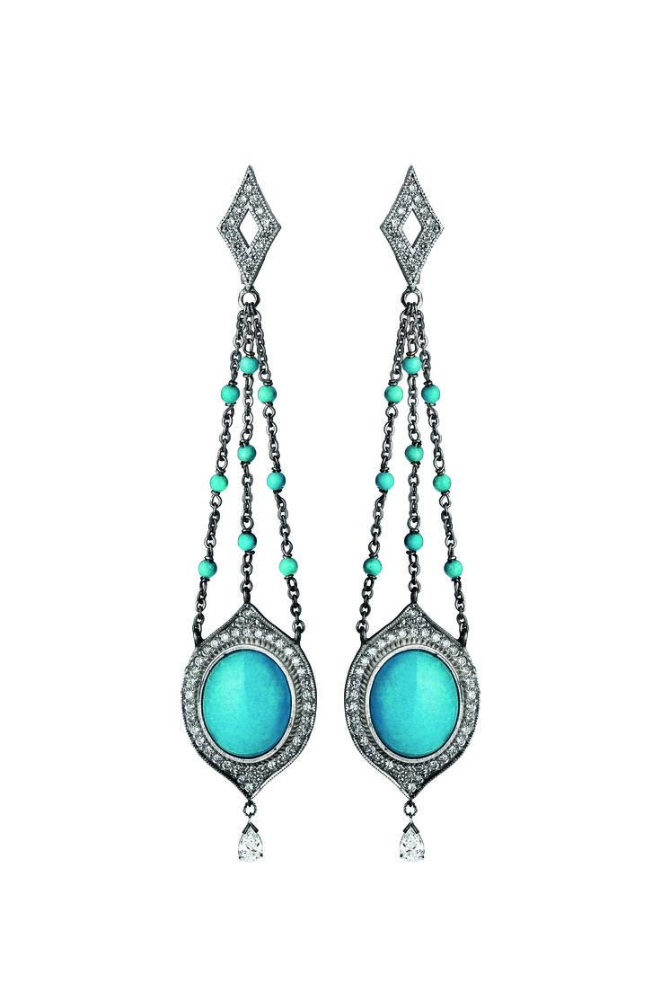Earrings 525/WG/WHTDI | Turquoise / Diamond / White Gold