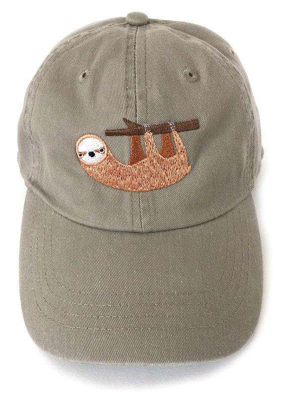 Sloth embroidered baseball cap by squarepaisleydesign on Etsy