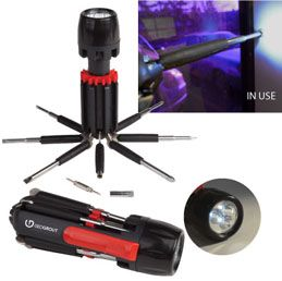 L723: The Handyman  3-LED flashlight and retractable multi tool  Includes 7 retractable tools  Runs on 2 AAA batteries (included)