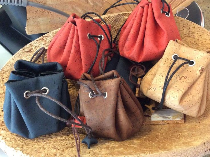 Cork Leather coin or gem drawstring pouches https://www.facebook.com/CorkLeather