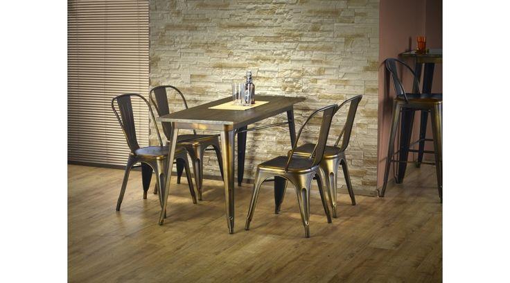 MAGNUM - retro stílusú étkezőasztal, a vintage darabok kedvelőinek. Az asztallap tömörfából, az lábak pedig festett acélból készültek. Az étkezőasztal a fotón K203étkezőszékekkel látható, melyek nem tartoznak az asztalhoz, de