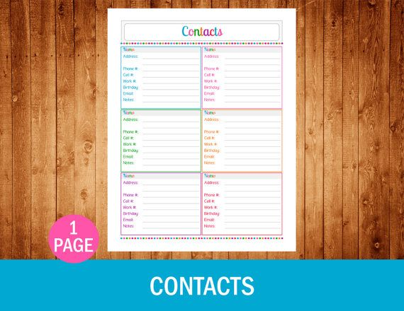 Contacts  Instant Download PDF Printable by OrganizedCandyShoppe