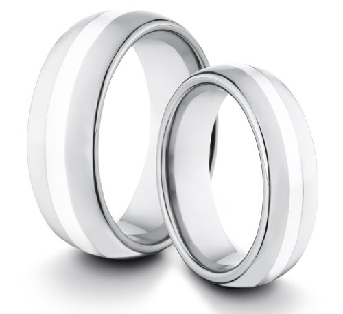 His & Her's 8MM/6MM Tungsten Carbide Classic Styled Polished Comfort Fit Wedding Band Ring Set w/ Genuine Silver Inlay (Available Sizes 4-14 Including Half Sizes):Amazon:Jewelry