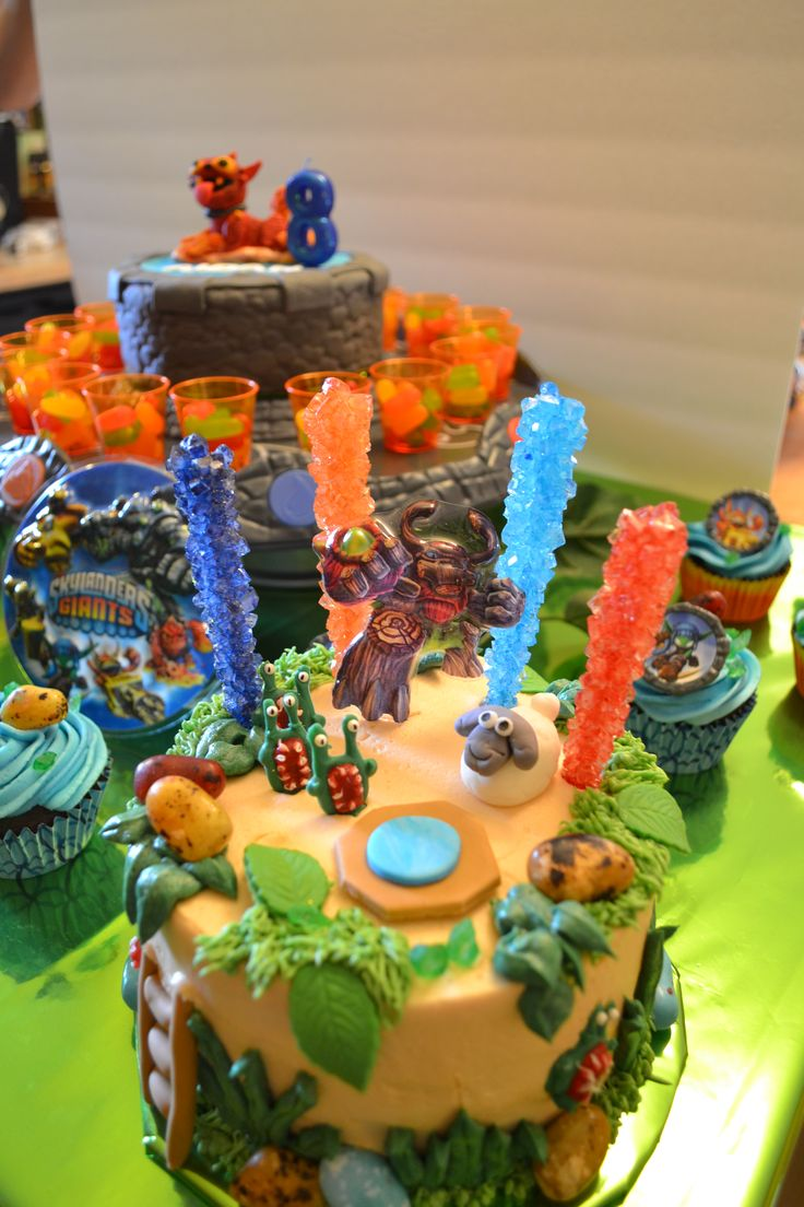 skylander birthday cake close up of worlds with sheep and chompies