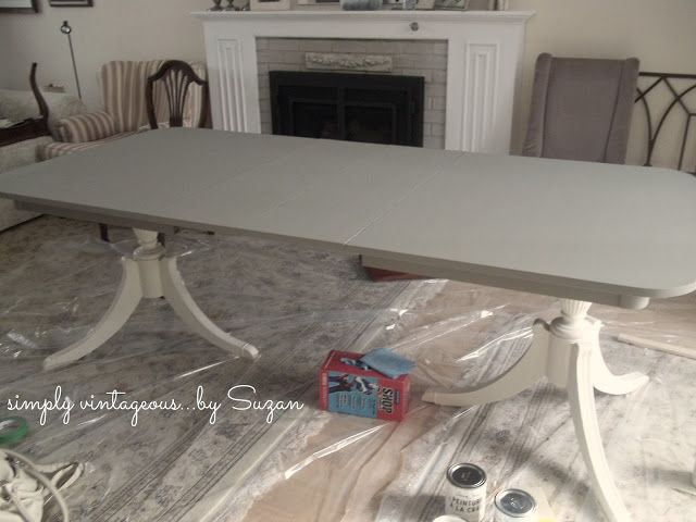 Painting a Mahogany Antique Dining Set/love the gray and white combo