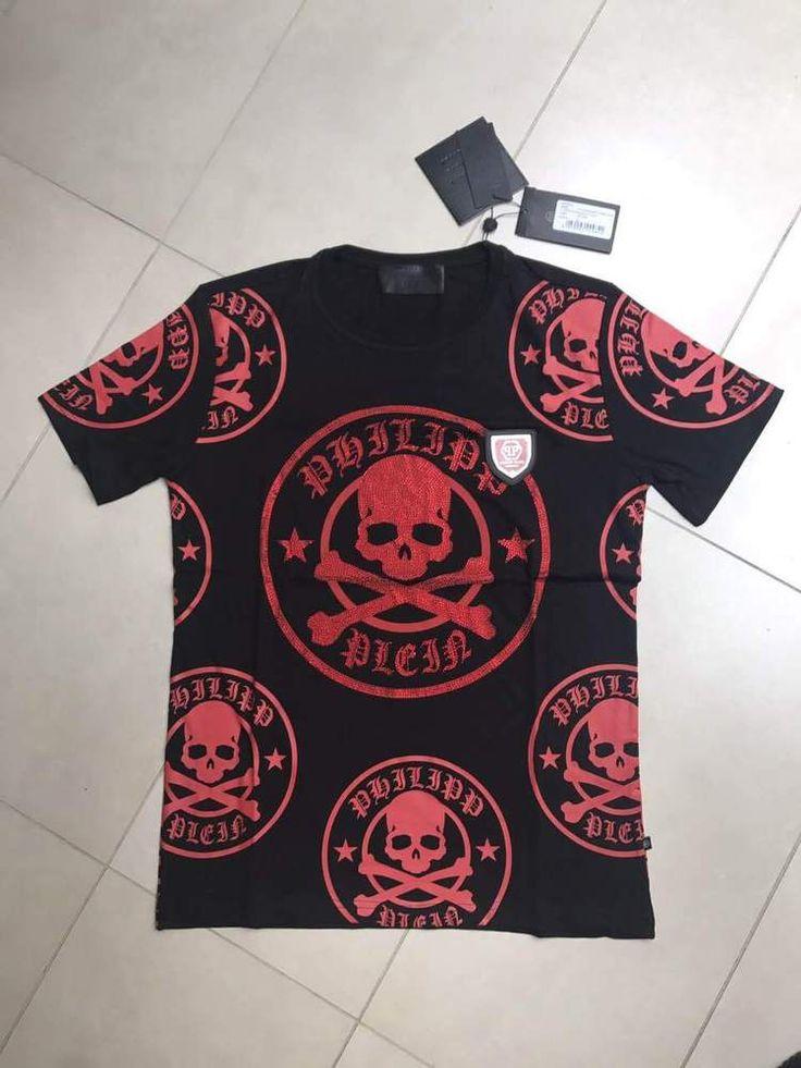 "Philipp Plein Crew Neck SS ""plum"" T-shirt Red Skull color Black size L #PhilippPlein #EmbellishedTee"