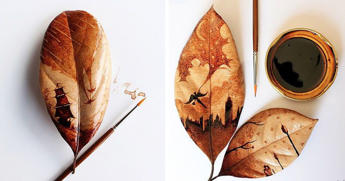 1000 ideas about leaf paintings on pinterest gold leaf for Painting with coffee grounds