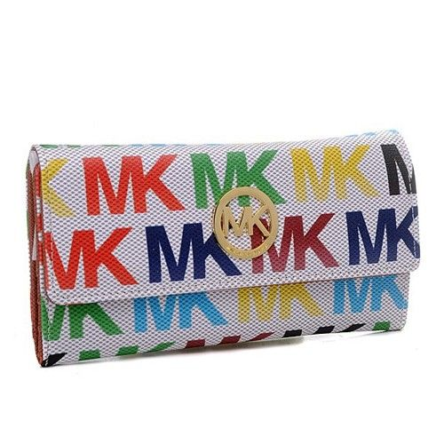 Michael Kors Envelope Logo Large White Multicolor Wallets