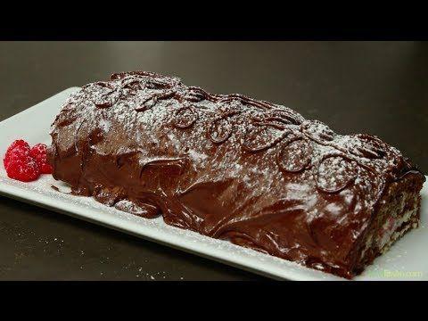 ROLLO DE CHOCOLATE CON CREMA DE MASCARPONE | CHOCOLATE ROLL WITH MASCARP...