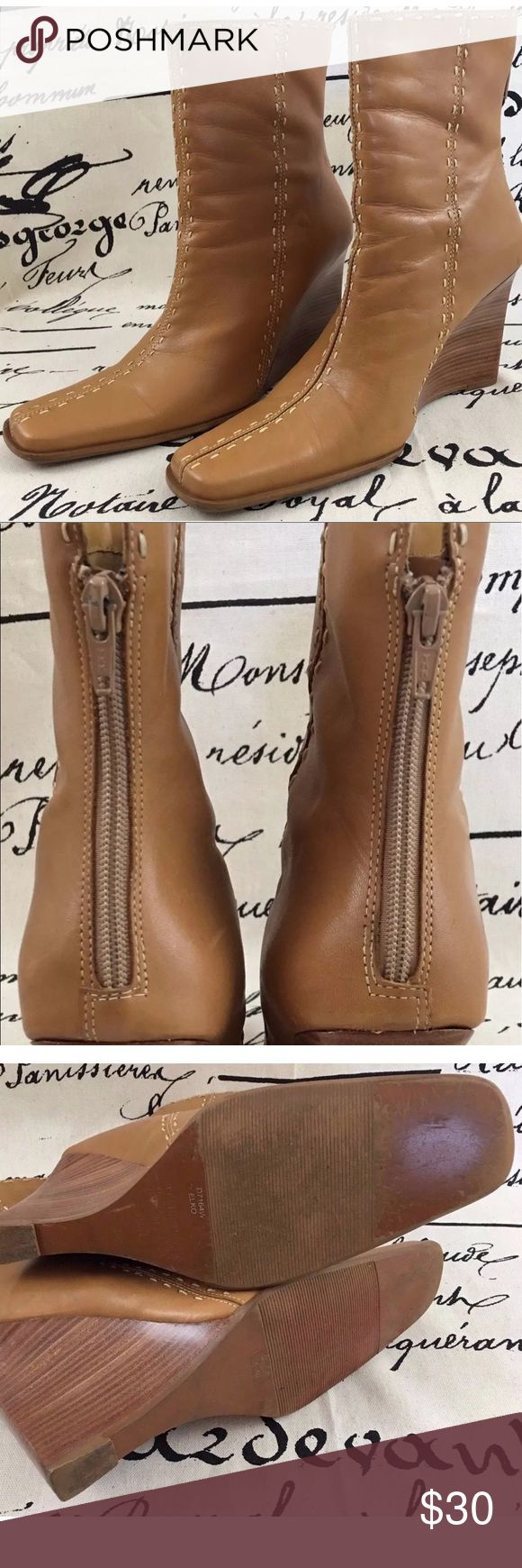 Item: Diba USA Women's Wedge Style Boots Leather Item: Diba USA Women's Wedge Style Boots Leather Upper Modern Stitching Size 7.5 Med Style: Camel Color Square Toe Wedge Rear Zip Up Casual or Professional Style Boots Color: Camel/Tan Brown Size: 7.5 Medium Diba Shoes Ankle Boots & Booties