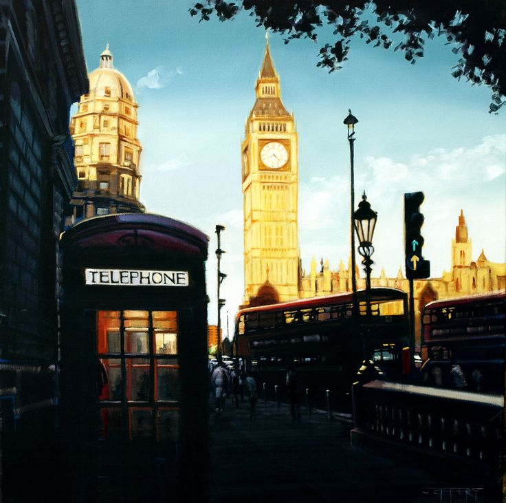 Cityscapes - BEN F JEFFERY - Big Ben in London - beautiful sunset painting