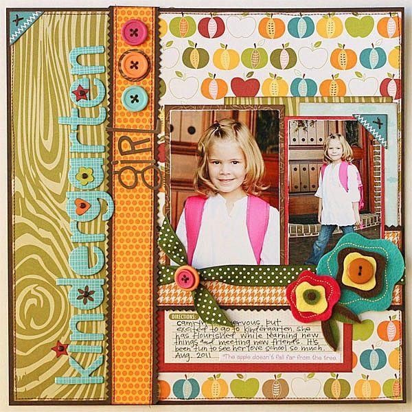 """Cute And Colorful School """"Kindergarten Girl"""" Scrapbook Page...Jana Eubank - twopeasinabucket."""