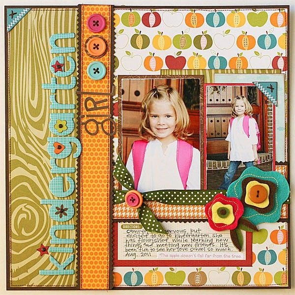 "Cute And Colorful School ""Kindergarten Girl"" Scrapbook Page...Jana Eubank - twopeasinabucket."