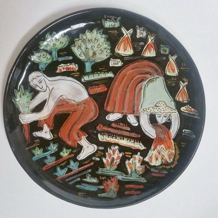 Yvonne Maurel Cerenne Vallauris France Art Pottery Plate 2 #MidCenturyModern #YvonneMaurel