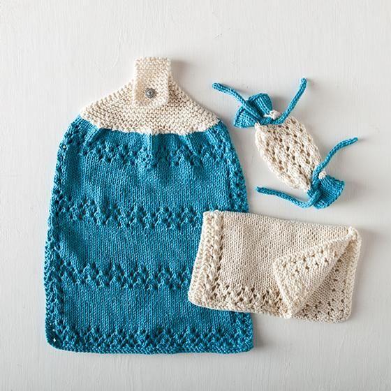Knitting Set : A little bit of lace bath set knitting patterns and