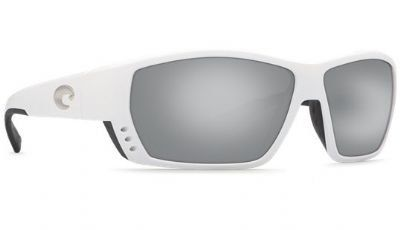 Costa Del Mar Sunglasses - Tuna Alley- Glass / Frame: White Lens: Polarized Silver Mirror Wave 580 Glass
