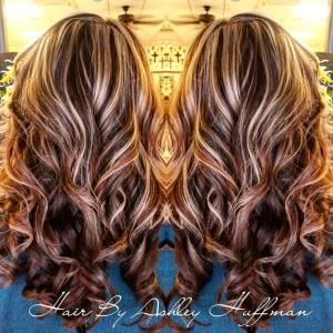 Chocolate Cherry Brown Hair With Chamomile Blonde Highlights Night & Day Hair Color by amie