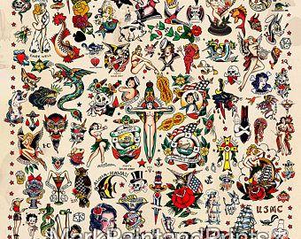 Sailor Jerry Tattoo Flash 3   Poster Print 24x36