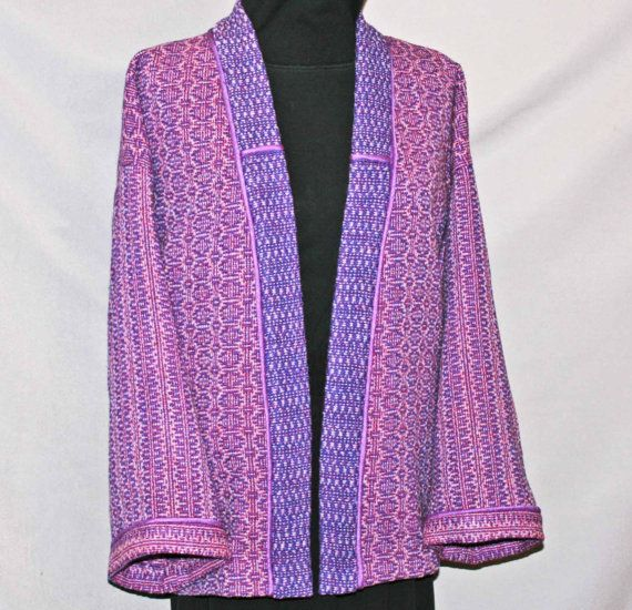 Purple wool kimono jacket handwoven hand by countryweaverdesigns, $195.00