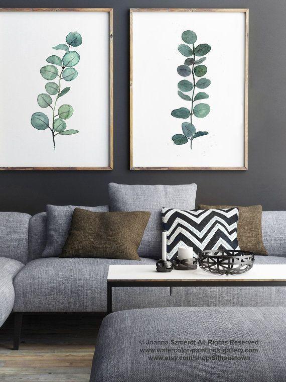 Eucalyptus branche aquarelle peinture ensemble de 2