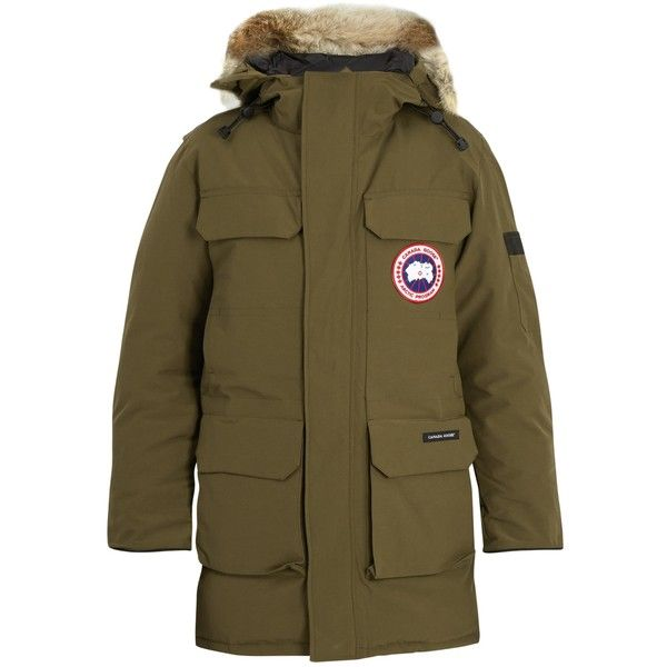 Canada Goose Citadel fur-trimmed parka (1,310 CAD) ❤ liked on Polyvore featuring men's fashion, men's clothing, men's outerwear, men's coats, green, mens parka coats, canada goose mens coat and mens slim fit coat
